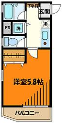 JR中央線 八王子駅 徒歩6分の賃貸マンション 9階1Kの間取り