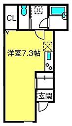サクセスバード桜木町 1階ワンルームの間取り