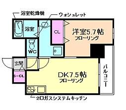 プレアデス千里山田[608号室]の間取り