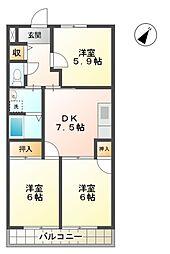 愛知県豊田市平戸橋町平戸の賃貸アパートの間取り