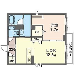 仮称 蓮田市上2丁目シャーメゾン 1階1LDKの間取り