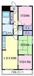 ベルデフラッツ松野[1階]の間取り