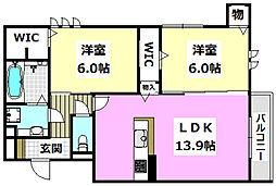 (仮称)D-room蔵垣内 1階2LDKの間取り