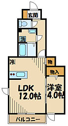 京王線 仙川駅 徒歩16分の賃貸アパート 1階1LDKの間取り
