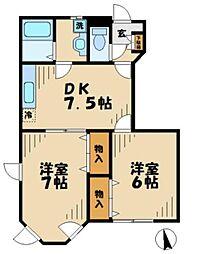 神奈川県綾瀬市大上1丁目の賃貸アパートの間取り
