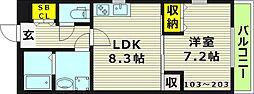 KTIレジデンス鶴見 1階1LDKの間取り