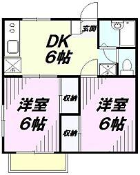 埼玉県所沢市西新井町の賃貸アパートの間取り