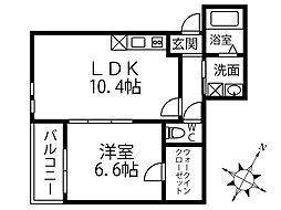 コサージュ鳳 3階1LDKの間取り