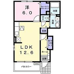 愛知県豊田市堤町大塚の賃貸アパートの間取り