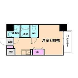 新梅田セントラルヒルズ 5階ワンルームの間取り