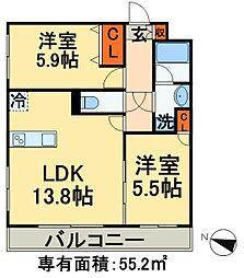 京成千葉線 京成稲毛駅 徒歩16分の賃貸マンション 1階2LDKの間取り