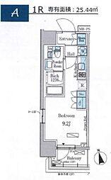 パークアクシス門前仲町イースト 地下13階ワンルームの間取り