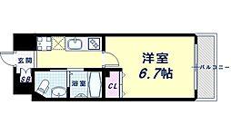 Osaka Metro御堂筋線 西田辺駅 徒歩3分の賃貸マンション 8階1Kの間取り