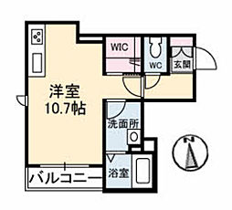 クレア 1階ワンルームの間取り