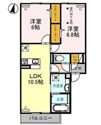 D-room吉川美南4丁目 1階2LDKの間取り