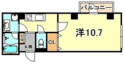 ドエル芦屋WEST 5階1Kの間取り