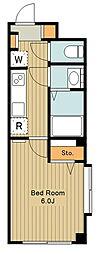 モン・シャトー蚕糸の森II 1階1Kの間取り