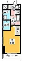 ピュアドームスタジオーネ平尾[206号室]の間取り