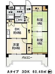大阪府豊中市利倉西2丁目の賃貸マンションの間取り