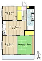 橋本フラワーマンション[303号室]の間取り