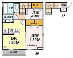 エスケーハイツ 2階2DKの間取り