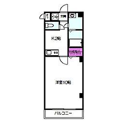JR大阪環状線 京橋駅 徒歩5分の賃貸マンション 2階1Kの間取り