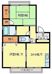 JR東北本線 土呂駅 徒歩14分の賃貸アパート 1階2DKの間取り