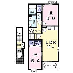 愛知県豊橋市森岡町の賃貸アパートの間取り