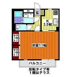 埼玉県入間郡毛呂山町大字小田谷の賃貸アパートの間取り
