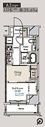 都営大江戸線 月島駅 徒歩1分の賃貸マンション 8階1DKの間取り
