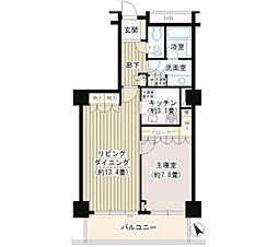 代官山アドレスザ・タワー 14階1LDKの間取り