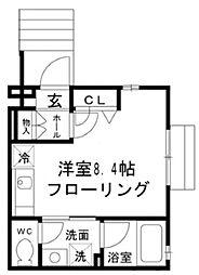 西武新宿線 田無駅 徒歩6分の賃貸アパート 1階ワンルームの間取り