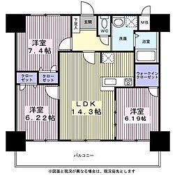 アルティザ仙台花京院 7階3LDKの間取り
