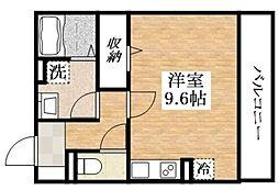 近鉄南大阪線 針中野駅 徒歩3分の賃貸アパート 2階ワンルームの間取り