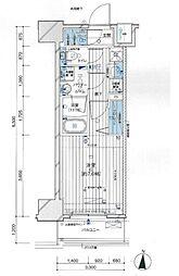 メインステージ亀戸VI 2階1Kの間取り