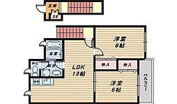 大阪府堺市中区田園の賃貸アパートの間取り