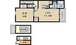 大阪府堺市堺区北庄町3丁の賃貸アパートの間取り