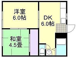 連島コーポ[102号室]の間取り