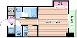 Osaka Metro谷町線 四天王寺前夕陽ヶ丘駅 徒歩4分の賃貸マンション 5階1Kの間取り