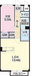 JR中央本線 瑞浪駅 3.3kmの賃貸アパート 2階1LDKの間取り