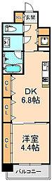 阪神本線 西宮駅 徒歩9分の賃貸マンション 2階1DKの間取り