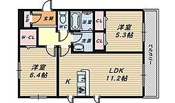シャーメゾンリラフォート[2階]の間取り