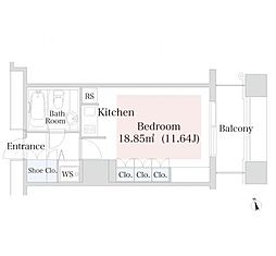ラ・トゥール神楽坂 11階ワンルームの間取り