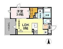 仮)D-room柏町 3階1LDKの間取り