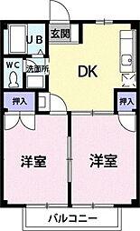 神奈川県平塚市公所の賃貸アパートの間取り