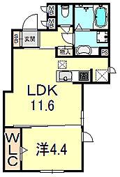JR東海道・山陽本線 三ノ宮駅 徒歩13分の賃貸アパート 1階1LDKの間取り