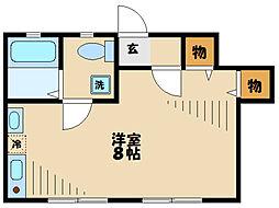 多摩都市モノレール 程久保駅 徒歩2分の賃貸アパート 1階ワンルームの間取り