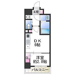 ファーストフィオーレ天王寺 6階1DKの間取り