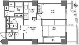 文京グリーンコート ビュータワー本駒込 13階2DKの間取り