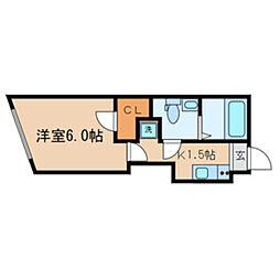 東京メトロ東西線 落合駅 徒歩3分の賃貸マンション 3階1Kの間取り